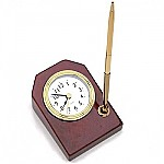 Executive desk clock with pen holder