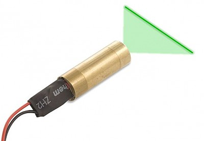 Compact green laser module with line generator